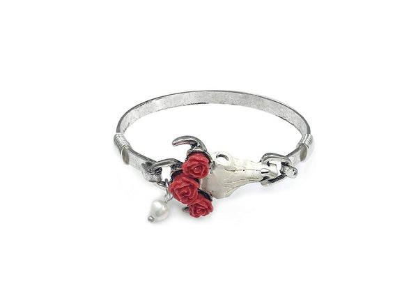 Steer Head Skull with 3 Red Roses Western Vintage Bangle Bracelet with Bead