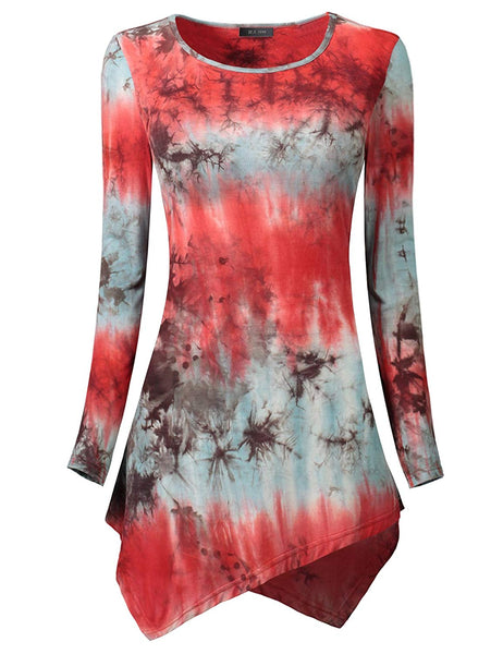 IF.U live Women Asymmetrical Shirts Tie Dyed Print Hankerchief Hemline Tunic Top