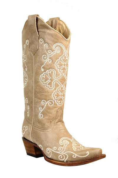 Corral Circle G Women's 13-inch Bone Embroidery Light Distressed Snip Toe Pull-On Cowboy Boots