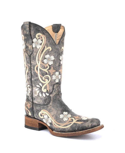 Corral Circle G Boot Women's 12-inch Distressed Floral Embroidery Square Toe Black/Multicolor Western Boot