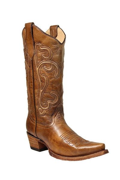 Corral Circle G Women's 13-inch Brown Corded Embroidery Snip Toe Pull-On Burnished Cowboy Boot