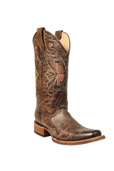 Corral Circle G Women's Shedron Embroidery Square Toe Pull-On Distressed Leather Western Boots - Sizes 5-12 B