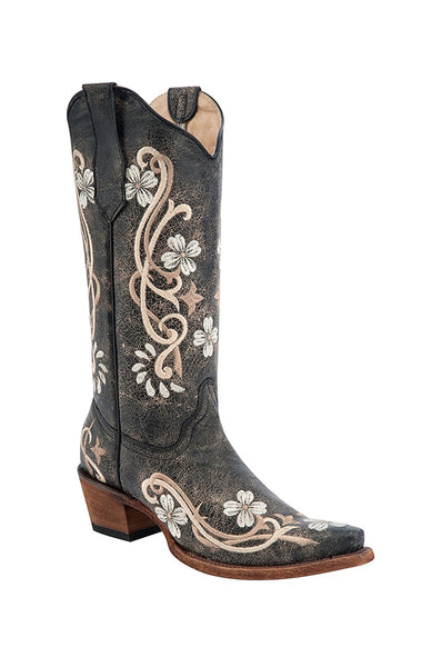 Corral Circle G Women's Multi-Colored Embroidered Genuine Brown Leather Cowgirl Boots