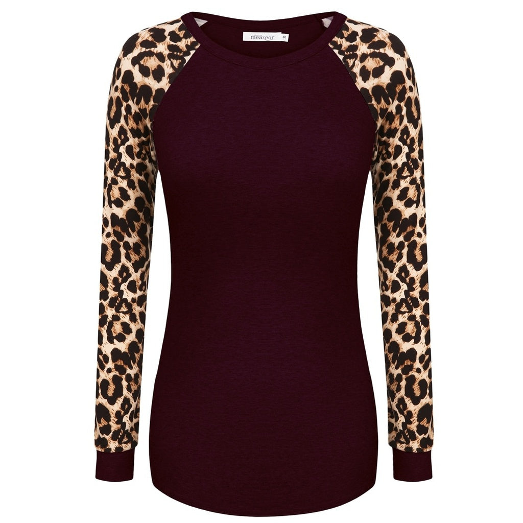 Fashion Taste Meaneor Women Fashion Casual Raglan Long Sleeve Leopard Patchwork T-Shirt Blouse Tops
