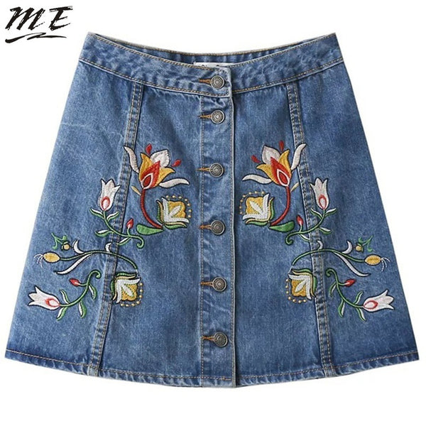 ME Women Slim Denim Short Jeans Skirts Embroidery High Waist Metal Button Casual Basic Vintage Skirts