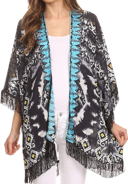 Sakkas Holliday Sheer Open Front Kimono Top With Fringe and Rhinestone Border