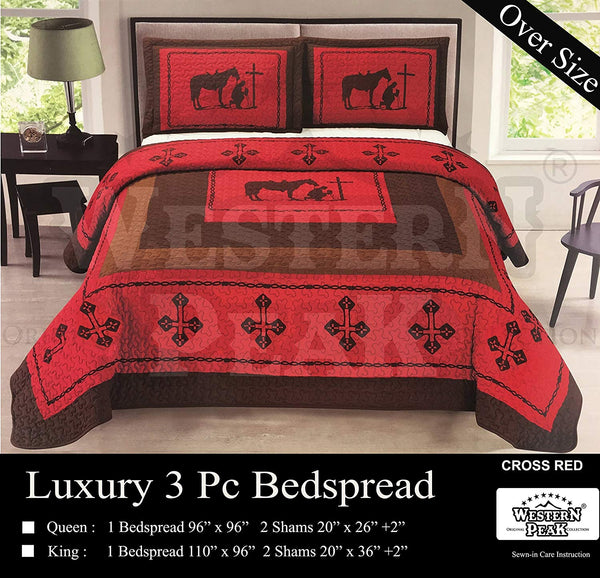 Western Peak Praying Cowboy Horse Barb Wire Star Cabin Lodge Luxury Quilt Bedspread Coverlet Comforter 3 Piece Beige Brown Set (Beige Queen)