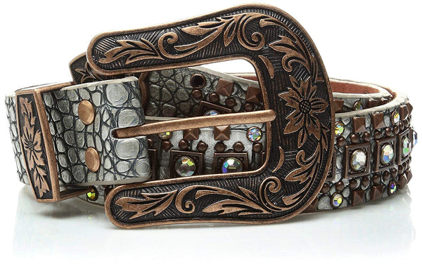 Nocona Belt Co. Women's Silver Croc Copper Square Stud Belt
