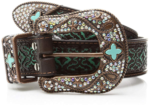 Nocona Belt Co. Women's Aged Geo Turquoise Bling Buckle Set Belt