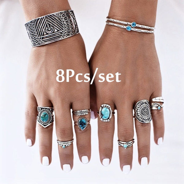 8Pcs/set Ring Set 925 Sterling Silver Natural Gemstone Turquoise Bride Wedding Engagement Band Jewelry Retro Bohemia Simple Ring