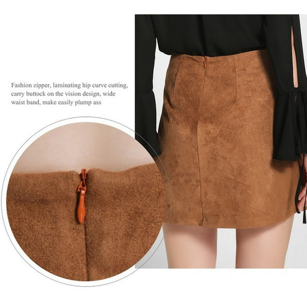 Leisure Casual Cloth Autumn Sexy Front Bandage Faux Suede Skirt Women High-waistline Hip Package Skirt Femmes
