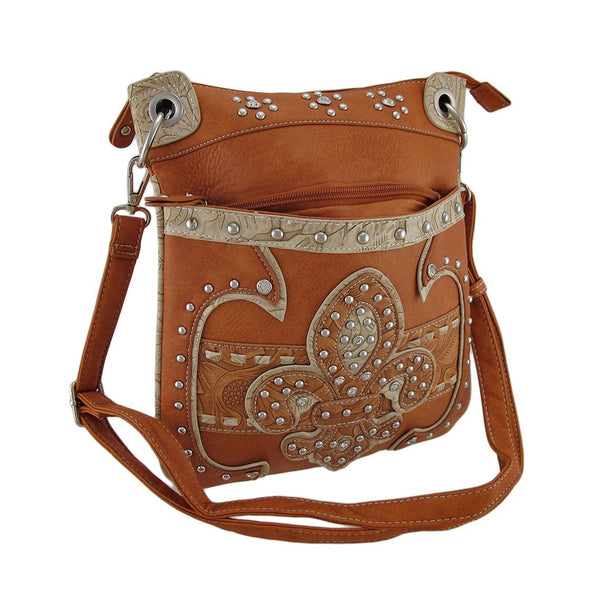 Studded Fleur De Lis Western Style Floral Embossed Cross Body Purse
