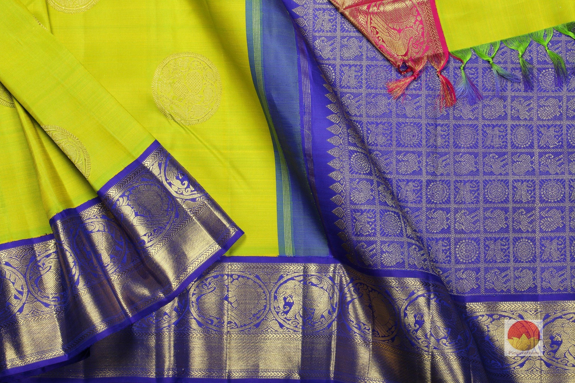 body, border and pallu of green shot yellow kanjivaram pure silk saree