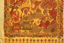 pallu detail of kalamkari tussar silk saree