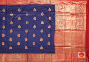 body and pallu of blue banarasi pure silk saree