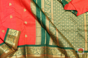 body, border and pallu of red kanjivaram pure silk saree