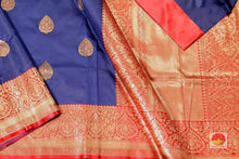 body, border and pallu of blue banarasi pure silk saree