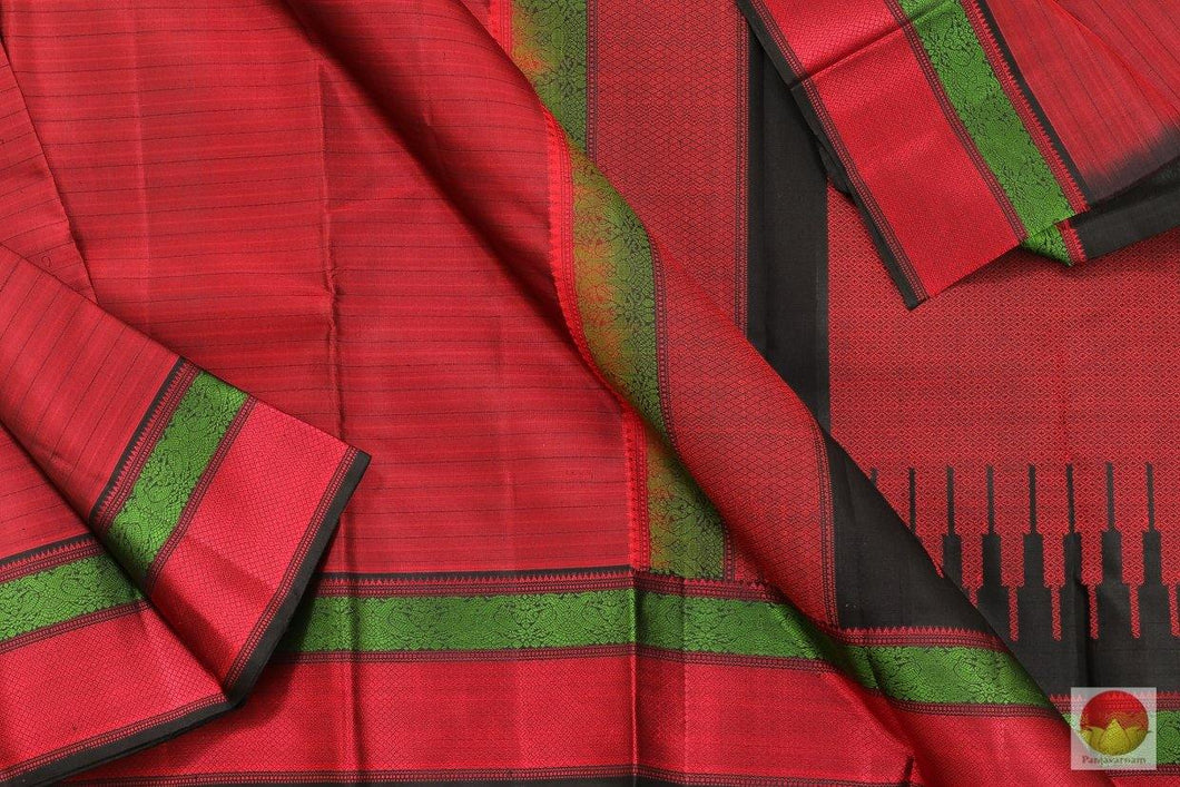 Kanchipuram Silk Saree - Handwoven Pure Silk - Non Zari - Silk Thread Work - PV NZ 467202