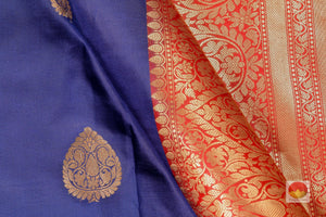 fabric detail of silk yarn in blue banarasi silk saree