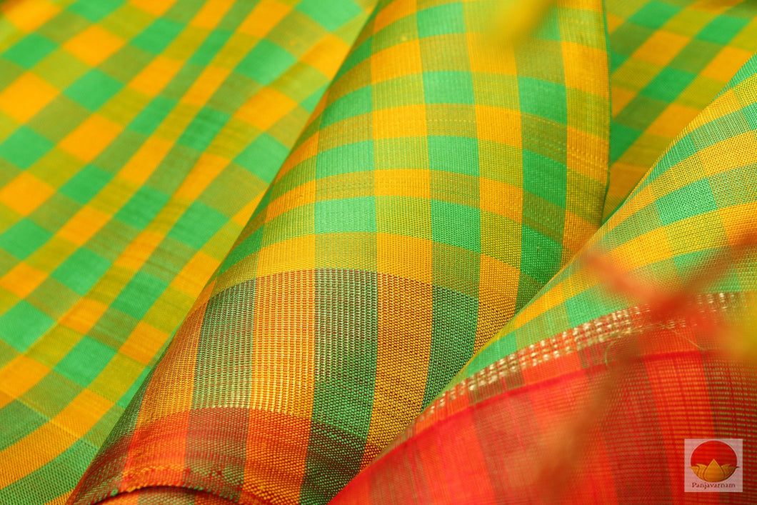 Green & Yellow - Handwoven Pure Silk Kanjivaram Saree - Pure Zari - PV G 1918