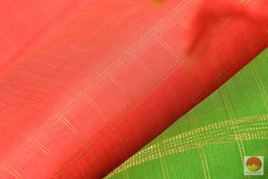 Kanchipuram Silk Saree - Pastel Peach & Green - Borderless Handwoven Pure Silk - Zari Checks - PV  G 1984