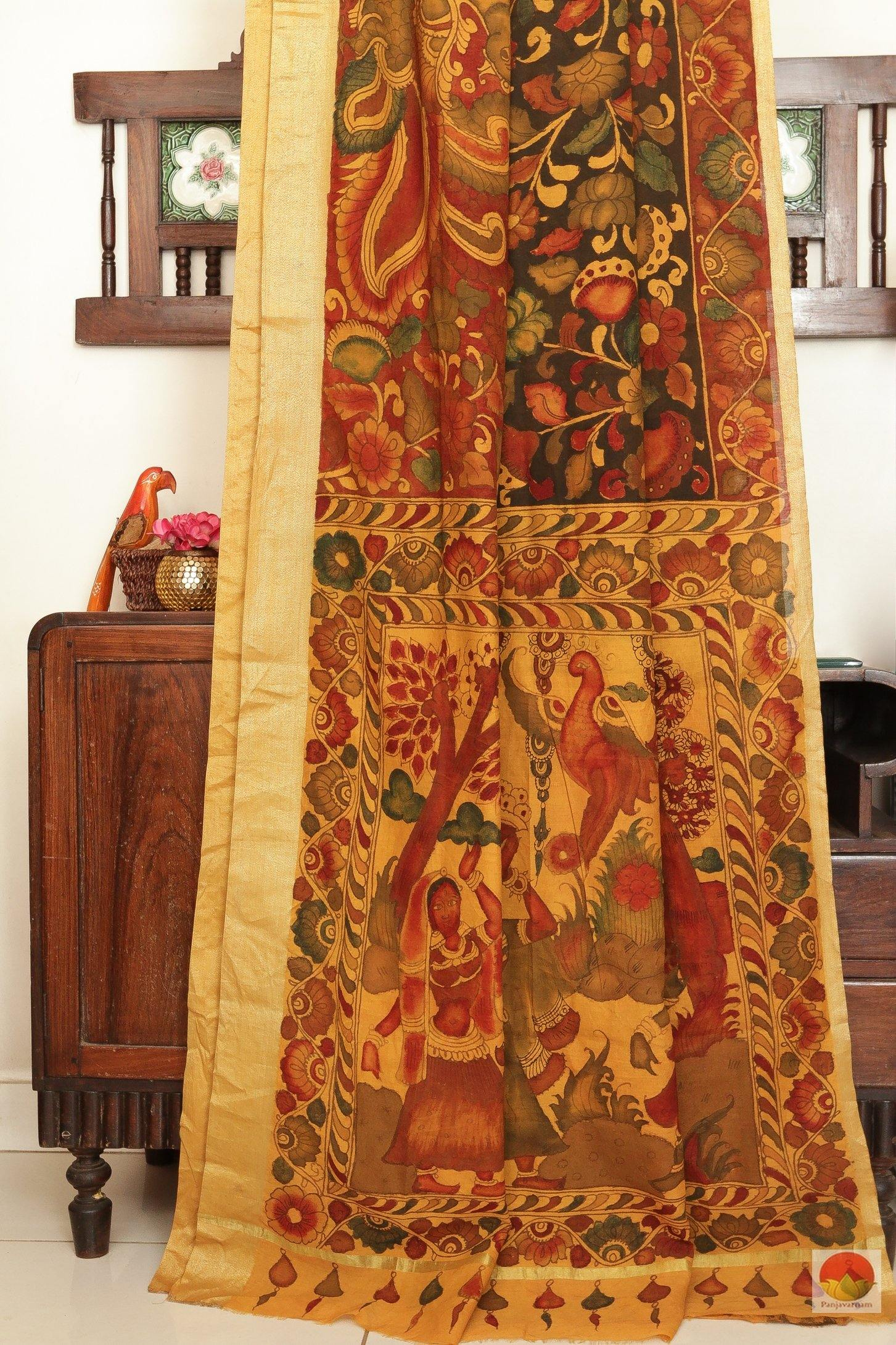 drape of kalamkari tussar silk saree