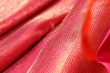 fabric detail of gold zari and silk yarn in RED kanjivaram silk saree