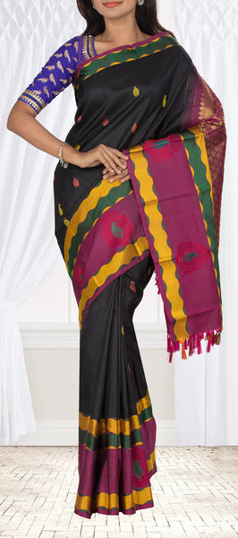 Black Pure Kanchipuram Handloom Silk Saree With Pure Zari