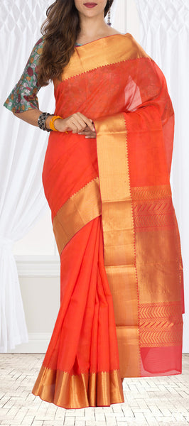 Bright Pink Silk Cotton Saree