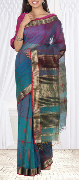 Teal Blue & Maroon Silk Cotton Saree