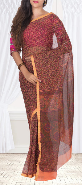 Peach & Maroon Semi Georgette Saree