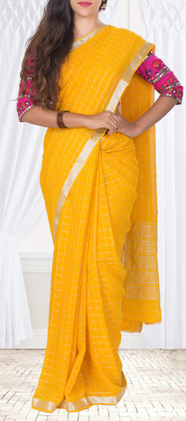 Mango Yellow Semi Georgette Casual Saree