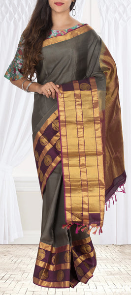 Dark Grey & Purple Lightweight Kanchipuram Half-Silk Saree With Half-fine Zari