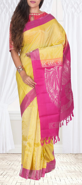 Yellow & Magenta Soft Silk Saree With Half-fine Zari