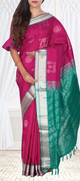 Magenta & Teal Green Lightweight Kanchipuram Pure Silk Saree With Half Fine Zari