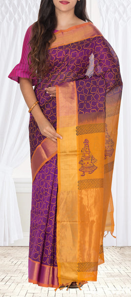 Purple & Mustard Silk Cotton Saree With Block Print