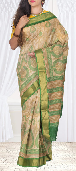Beige & Green Semi Tussar Saree