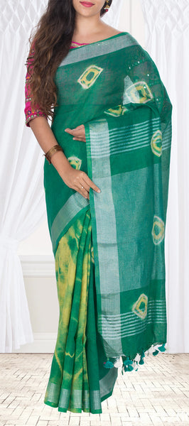 Green Linen Tie-And-Dye Saree