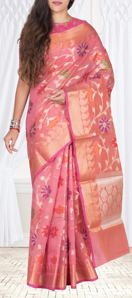 Onion Pink Semi Kora Casual Saree