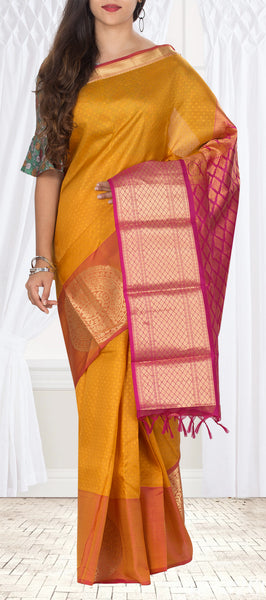 Mustard & Magenta Lightweight Kanchipuram Pure Silk Saree With Half Fine Zari