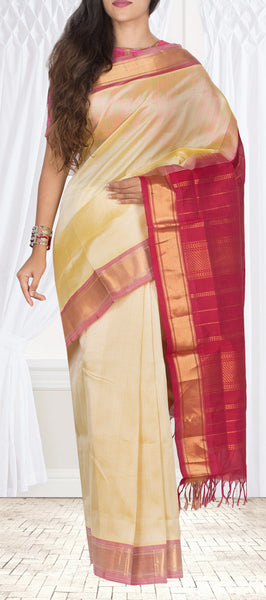 Lemon Yellow & Red Silk Cotton Saree