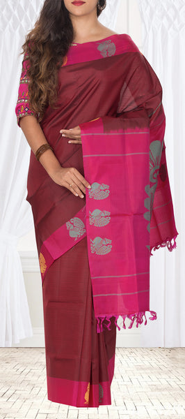 Maroon & Pink Pure Kanchipuram Handloom Silk Saree With Half-Fine Zari