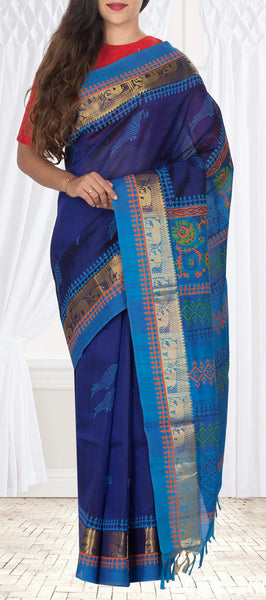 Dark Blue & Light Blue Silk Cotton Saree