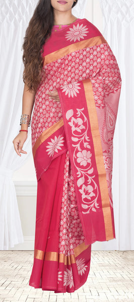 Cherry Pink Semi Silk Cotton Casual Saree