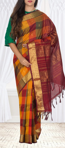 Mustard, Marroon & Orange Silk Cotton Saree