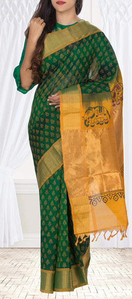 Green & Mustard Silk Cotton Saree With Block Print