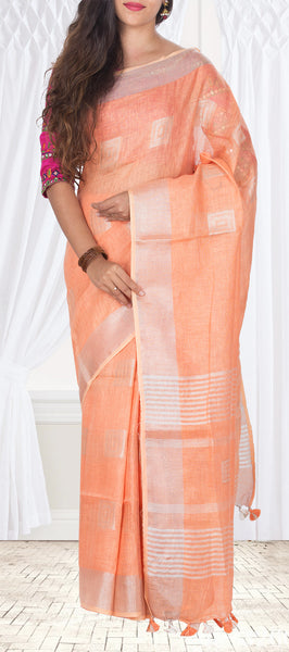 Peach Linen Saree With Silver Zari