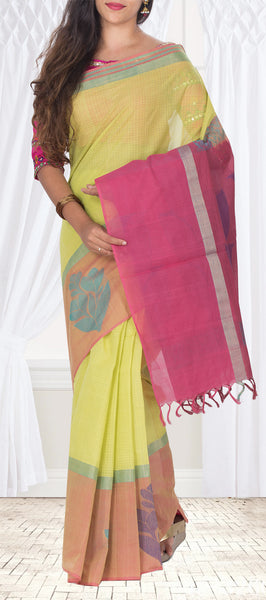 Green, Brown & Magenta Maheshwari Cotton Saree