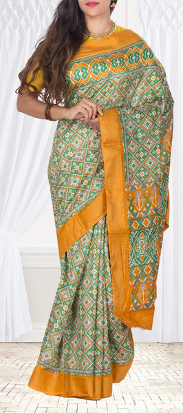 Green Semi Pochampalli Casual Saree