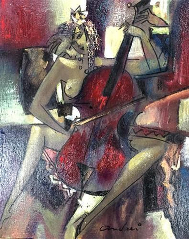 Cello Original Oil by Andrei Protsouk *SOLD*